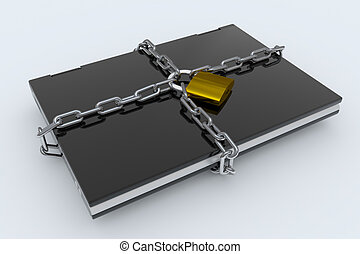 Padlock, chain and laptop