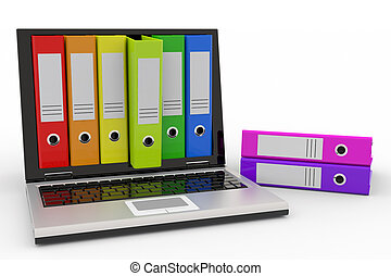 Laptop and colorful archive folders - Laptop and colorful...