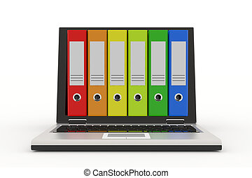 Laptop and colorful archive folders.