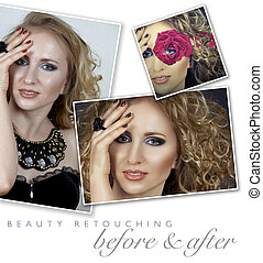 woman professional face retouch - before and after of a...