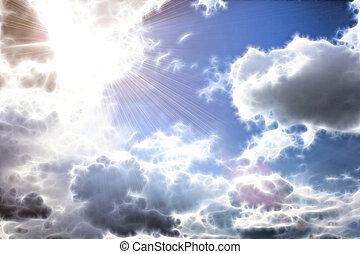sun, blue sky with clouds