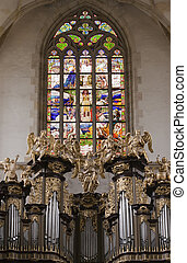 Saint Barbara church - Organ Loft and Stained glass in the...
