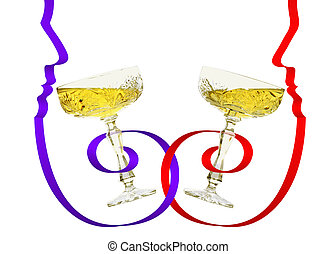 Romantic dinner - Two glasses with chanpain and confetti in...