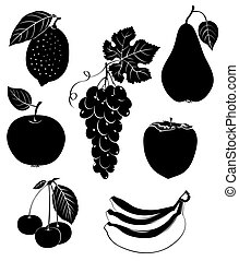 Set of silhouettes of fruit Vector illustration