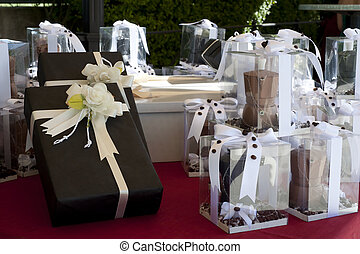favors - bomboniere - favors on a table outdoor with boxes...