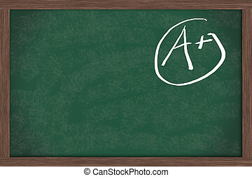 Good Grades - Chalkboard with an A+ in chalk with copy space...