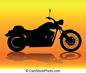 silhouette of an old motorcycle on an orange background