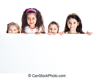 Grouop of smily kids over white background