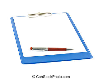 blank blue clipboard with a pen isolated on white background