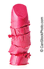 Crushed pink lipstick sample, isolated on white