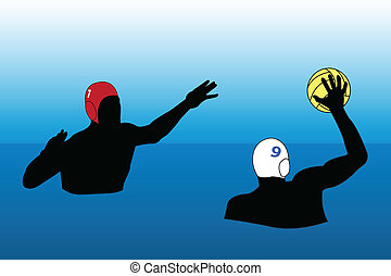 Waterpolo action - vector illustration