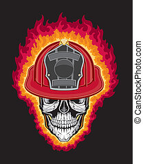 Firefighter Helmet and Skull - Illustration of a stylized...