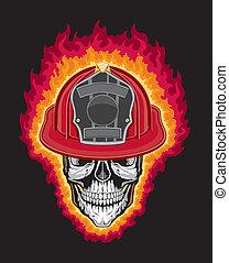 bombeiro, capacete, cranio