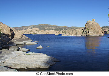 Watson Lake, Prescott Arizona - granite formations surround...