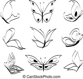 Butterflies - Set of collection with nine butterflies made...