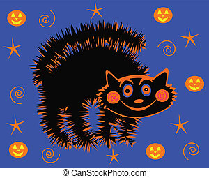 Halloween Cat - Scary halloween cat with pumpkins stars and...