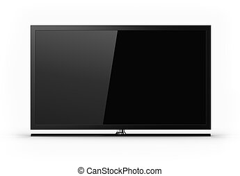 plasma, televisión, -, blanco, pantalla