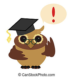 owl and exclamation mark on white background vector...