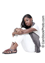Depression - A beautiful young teenage African American...