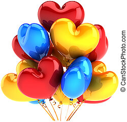 Party balloons in form of hearts birthday decoration...