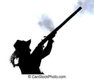 Man with gun - Silhouette of man stooting rifle
