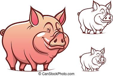 różowy, rysunek, świnia
