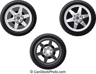 Set of isolated wheels - Wheel and tire set isolated on...