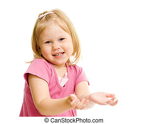 Little naughty girl portrait palms up isolated