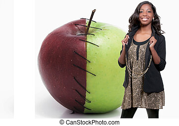 Black teenage girl and a Stitched Apple - A black teenage...