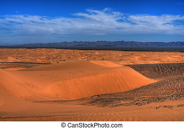 Sand Dunes and distant mountains
