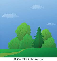 Landscape, forest edge, summer day - Vector, summer...