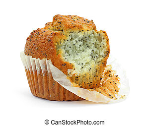 Poppy seed muffin that has been bitten