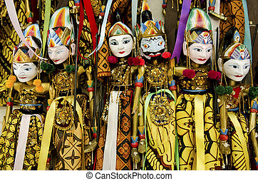 traditional puppets in bali indonesia - traditional wooden...