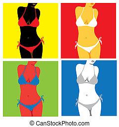 bikini in popart style - illustration