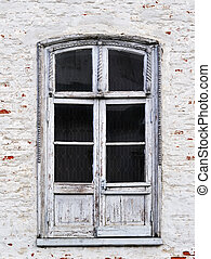 Old glass door in church - Vintage glass wooden door in...