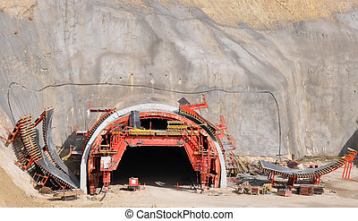 Tunnel Construction in Mediterranean City Alcoy Costa Blanca...
