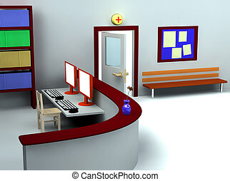 3d of hospital waiting room and registry - 3d rendering of...