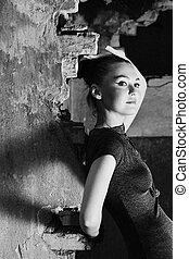 Beautiful young woman posing in the ruins - Attractive young...