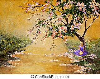 The Flowering Tree - An original acrylic painting of a...