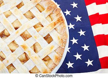 norteamericano, manzana, Pastel