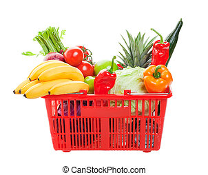 Grocery Shopping Basket - A grocery basket filled with fresh...