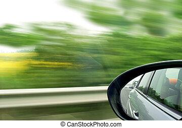 alto, velocidad, Mudanza, coche