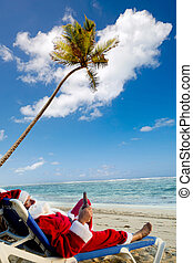 Santa claus on vacation - Santa claus is on vacation He is...