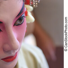 CHENGDU - Jul 26: a chinese opera actress is painting her...