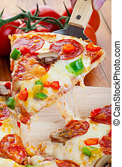Pizza Time - A slice of hot pizza deluxe with pepperoni,...