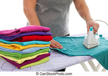 housewife is doing the ironing over white background