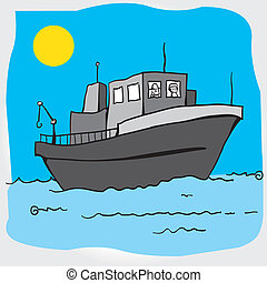 Vector of a boat in high sea.