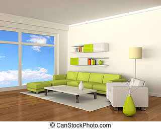 Interior of the modern room, white wall and green-white...