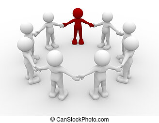 Team of 3d people in a circle with a leader- This is a 3d...