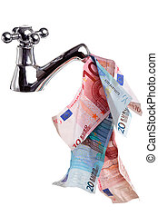 Cashflow money - Photo of a tap or faucet with money flowing...